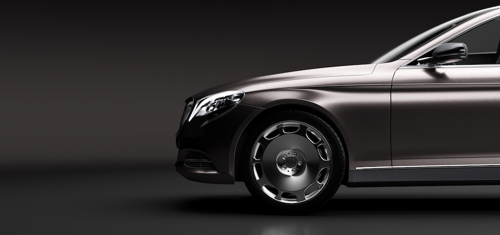 Limo car, a premium luxury vehicle on black. Vip transport, rent a limousine concept. 3D illustration