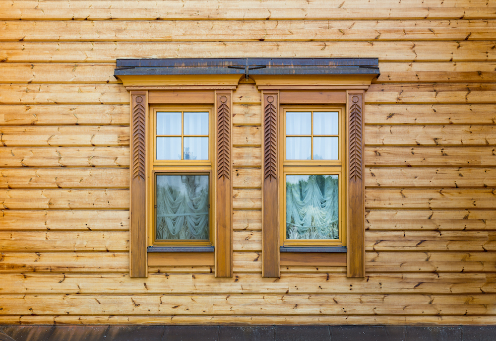 Windows of the wooden house